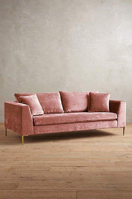 Pink velvet sofa 8